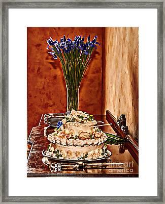 Cake And Purple Irises Framed Print by Amanda Collins