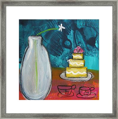 Cake And Tea For Two Framed Print by Linda Woods