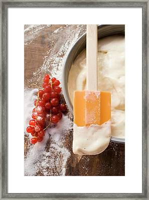 Cake Mixture In Baking Tin With Spatula, Redcurrants, Sugar Framed Print