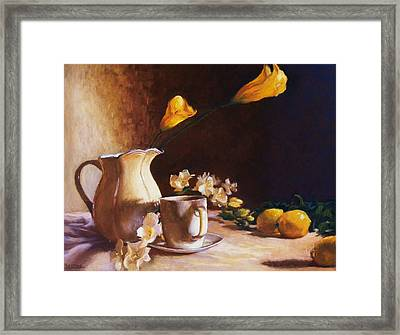 Cala Lily And Lemon Framed Print