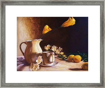 Cala Lily And Lemon Framed Print