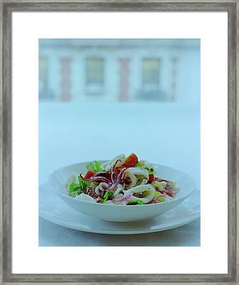 Calamari Salad Framed Print by Romulo Yanes