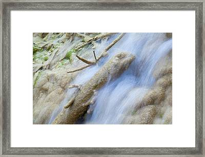Calcareous Sinter In Stream Framed Print by Dr Juerg Alean