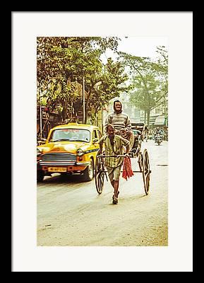 Hand Pulled Rickshaw Framed Prints