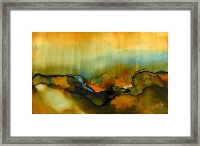 Caldera - Alcohol Ink Framed Print by Susan Swain