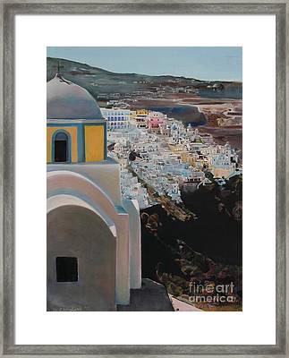 Caldera Church Santorini Framed Print by Debra Chmelina