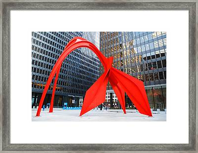 Framed Print featuring the photograph Calder's Flamingo by James Kirkikis
