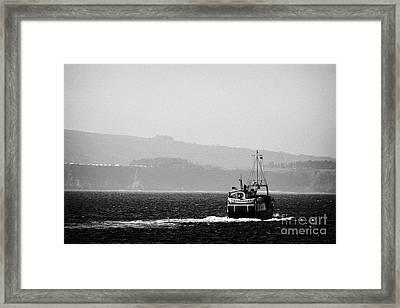 Caledonian Macbrayne Mv Canna Ferry Sails Off To Ballycastle From Rathlin Island Northern Ireland Framed Print by Joe Fox