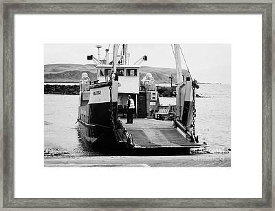 Caledonian Macbrayne Mv Canna Ferry With Vehicle Boarding Ramp Lowered Rathlin Island Pier Harbour N Framed Print by Joe Fox