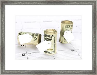 Calendar And Bankrolls Framed Print by Joe Belanger