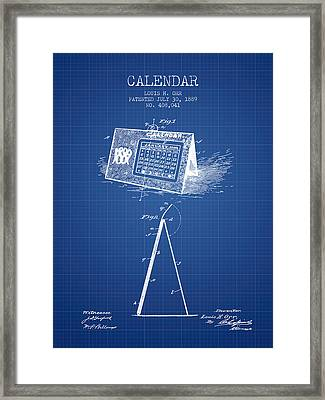 Calendar Patent From 1889 - Blueprint Framed Print by Aged Pixel