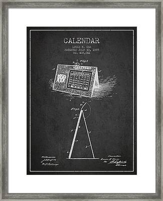 Calendar Patent From 1889 - Charcoal Framed Print by Aged Pixel