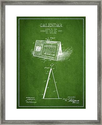 Calendar Patent From 1889 - Green Framed Print by Aged Pixel