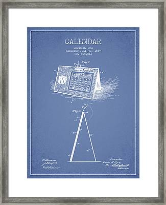 Calendar Patent From 1889 - Light Blue Framed Print by Aged Pixel