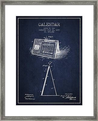Calendar Patent From 1889 - Navy Blue Framed Print by Aged Pixel