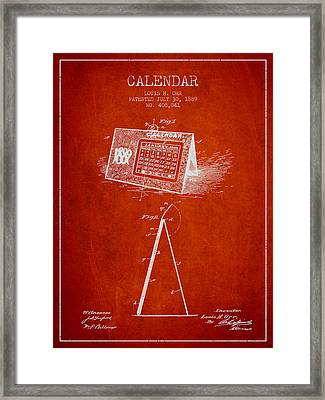 Calendar Patent From 1889 - Red Framed Print by Aged Pixel