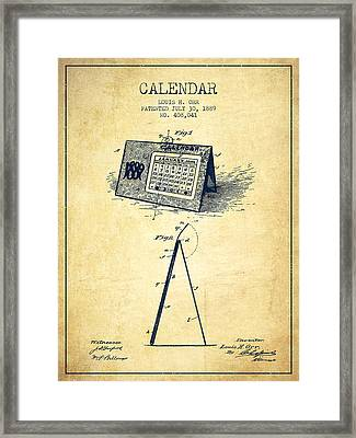 Calendar Patent From 1889 - Vintage Framed Print by Aged Pixel