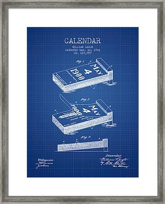 Calendar Patent From 1901 - Blueprint Framed Print by Aged Pixel