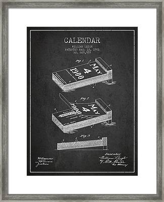 Calendar Patent From 1901 - Charcoal Framed Print by Aged Pixel