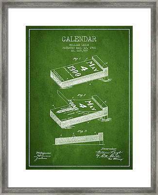 Calendar Patent From 1901 - Green Framed Print by Aged Pixel