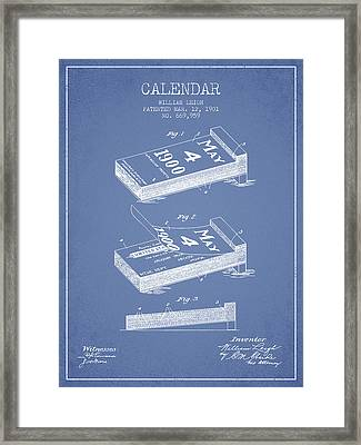Calendar Patent From 1901 - Light Blue Framed Print by Aged Pixel