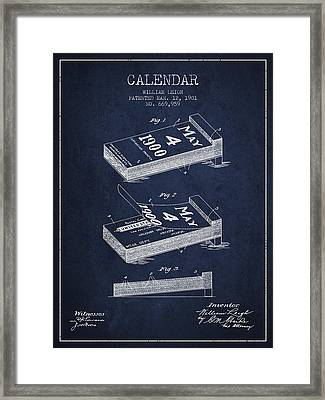 Calendar Patent From 1901 - Navy Blue Framed Print by Aged Pixel