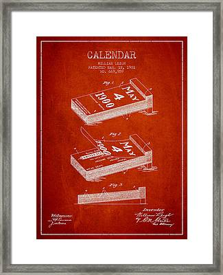 Calendar Patent From 1901 - Red Framed Print by Aged Pixel