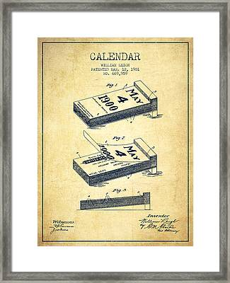 Calendar Patent From 1901 - Vintage Framed Print by Aged Pixel