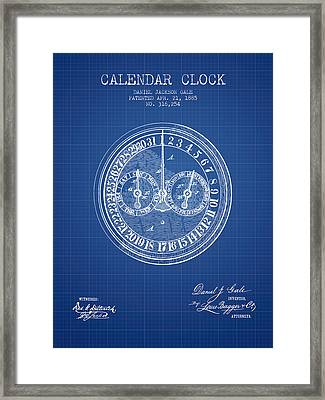 Calender Clock Patent From 1885 - Blueprint Framed Print by Aged Pixel