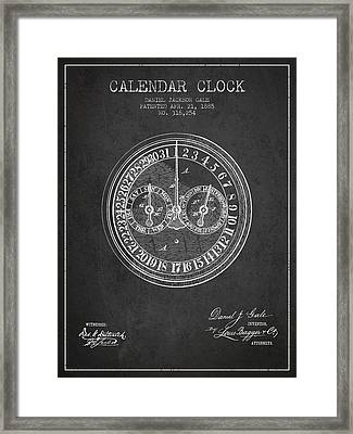 Calender Clock Patent From 1885 - Charcoal Framed Print by Aged Pixel