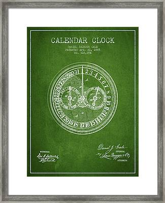 Calender Clock Patent From 1885 - Green Framed Print by Aged Pixel