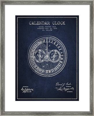 Calender Clock Patent From 1885 - Navy Blue Framed Print by Aged Pixel