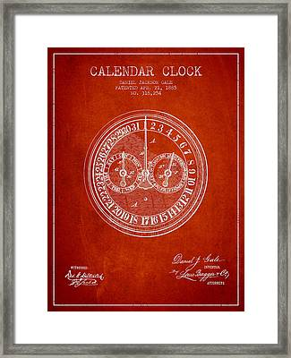 Calender Clock Patent From 1885 - Red Framed Print by Aged Pixel
