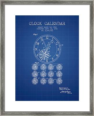 Calender Clock Patent From 1926 - Blueprint Framed Print by Aged Pixel