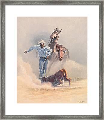 Calf Roper Framed Print by Paul Krapf