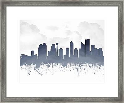 Calgary Alberta Skyline - Blue 03 Framed Print by Aged Pixel
