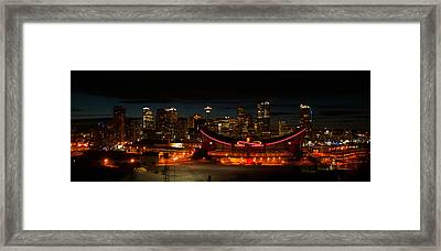 Calgary At Night Framed Print by Guy Whiteley