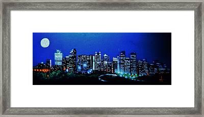 Calgary Canada In Black Light Framed Print