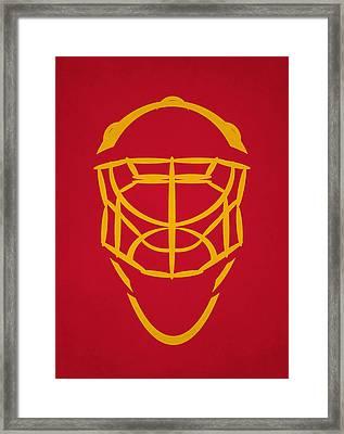 Calgary Flames Goalie Mask Framed Print by Joe Hamilton