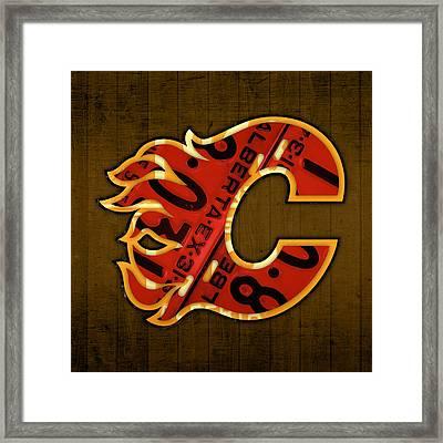 Calgary Flames Hockey Team Retro Vintage Logo Recycled Alberta Canada License Plate Art  Framed Print by Design Turnpike