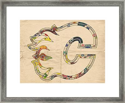 Calgary Flames Poster Art Framed Print