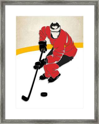 Calgary Flames Rink Framed Print by Joe Hamilton