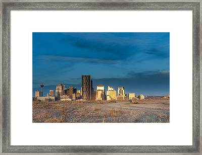 Calgary Skyline Sun Reflections Framed Print