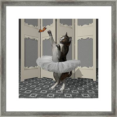 Calico Ballet Cat On Paw-te Framed Print by Andre Price