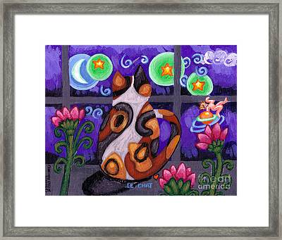 Calico Cat In Moonlight Framed Print by Genevieve Esson