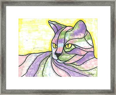 Framed Print featuring the painting Calico Cat by Susie Weber