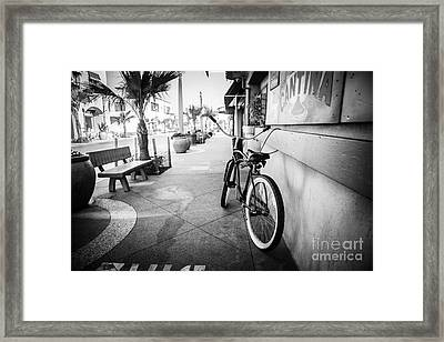 California Beach Cruiser Bike Black And White Photo Framed Print