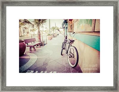 California Beach Cruiser Bike Retro Picture Framed Print by Paul Velgos