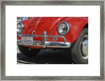 California Dreaming - Red Volkswagen Beetle Front Framed Print