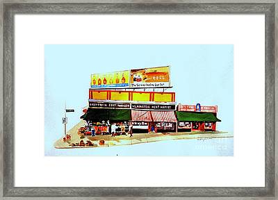 Framed Print featuring the painting California Fruit Market by William Renzulli